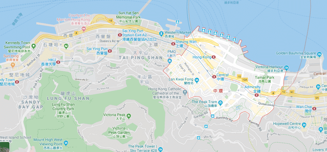 Map of Central Hong Kong